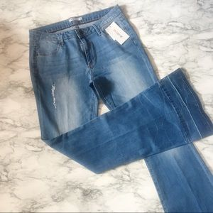 Just Fab High Waist Distressed Flare Leg Jeans
